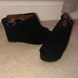 Lucky Brand black suede wedges sling back